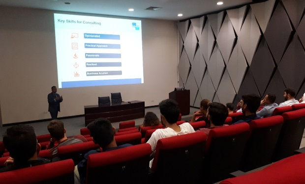 Gulftainer's HR team conducted a one-hour session on 'Careers in Consultancy' for students of American University in Sharjah for their job search preparation day.